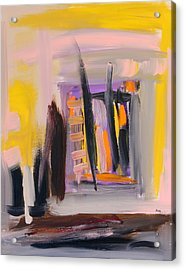 Yellow And Black Abstract Acrylic Print by Maggis Art