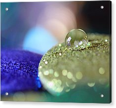 Acrylic Print featuring the photograph Yellow And Blue Glitter by Angela Murdock