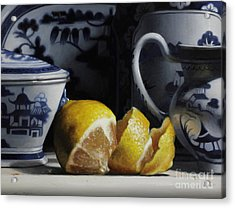 Yellow And Blue  Acrylic Print by Larry Preston