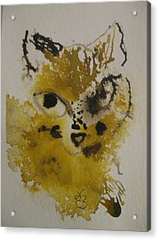 Acrylic Print featuring the drawing Yellow And Brown Cat by AJ Brown