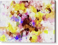 Acrylic Print featuring the painting Yellow And Pink Abstract Painting by Ayse Deniz