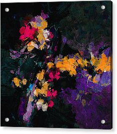 Acrylic Print featuring the painting Yellow And Purple Abstract / Modern Painting by Ayse Deniz