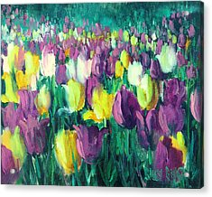 Yellow And Violet Tulips Acrylic Print by Sally Seago