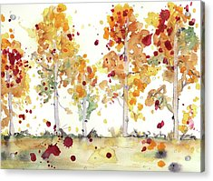 Acrylic Print featuring the painting Yellow Aspens by Dawn Derman