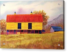 Yellow Barn Acrylic Print by Hugh Harris