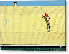 Yellow Barn Roof Workers-7 Acrylic Print