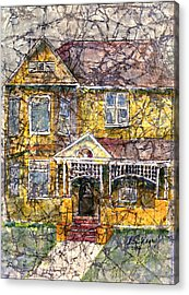 Yellow Batik House Acrylic Print by Arline Wagner