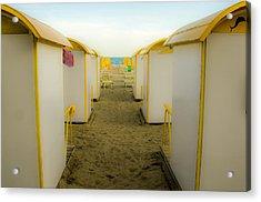 Yellow Beach Cabanas Acrylic Print