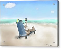 Yellow Bird Beach Selfie Acrylic Print