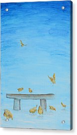 Acrylic Print featuring the painting Yellow Birds In The Blue1 by Nik Helbig