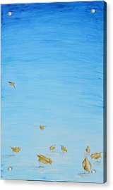 Acrylic Print featuring the painting Yellow Birds In The Blue2 by Nik Helbig