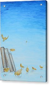 Acrylic Print featuring the painting Yellow Birds In The Blue3 by Nik Helbig