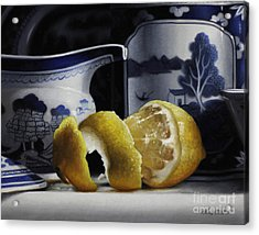 Yellow Blue And White Acrylic Print by Larry Preston