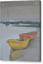 Yellow Boat 2 Acrylic Print by Amy Bernays