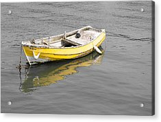 Yellow Boat Acrylic Print by Helen Northcott