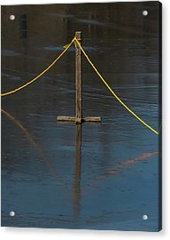 Acrylic Print featuring the photograph Yellow Boundary On Ice by Gary Slawsky