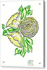 Yellow Bouquet Acrylic Print by Judith Herbert