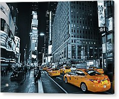 Yellow Broadway At Night - Nyc Acrylic Print