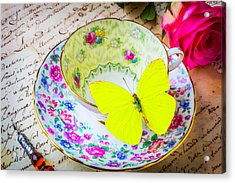 Yellow Butterfly On Tea Cup Acrylic Print