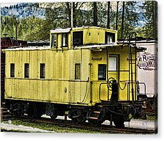 Acrylic Print featuring the photograph Yellow Caboose by Ron Roberts