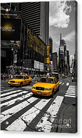 Yellow Cabs Cruisin On The Times Square  Acrylic Print by Hannes Cmarits