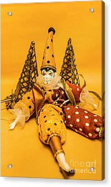 Yellow Carnival Clown Doll Acrylic Print by Jorgo Photography - Wall Art Gallery
