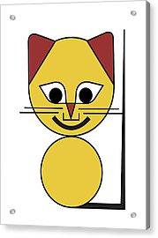 Yellow Cat Acrylic Print by Asbjorn Lonvig