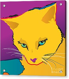 Yellow Cat Square Acrylic Print