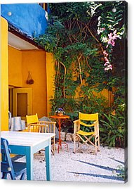 Yellow Chairs Acrylic Print by Andrea Simon