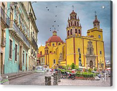 Yellow Church Acrylic Print by Juli Scalzi