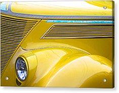 Yellow Classic Car Contours Acrylic Print