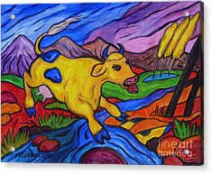 Acrylic Print featuring the painting Yellow Cow Jumps A Creek by Dianne  Connolly