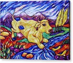 Acrylic Print featuring the painting Yellow Cow Jumps The Creek by Dianne  Connolly
