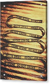 Yellow Crime Scene Ribbon On Metal Background Acrylic Print