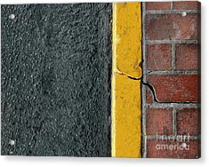Yellow Curb Acrylic Print by Dan Holm