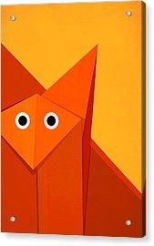 Yellow Cute Origami Fox Acrylic Print