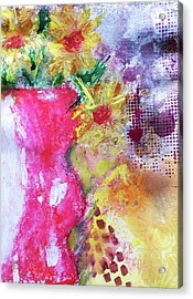 Acrylic Print featuring the mixed media Yellow Daisies by Lisa McKinney