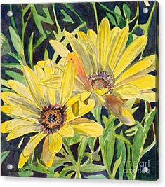 Acrylic Print featuring the painting Yellow Daisy by LeAnne Sowa