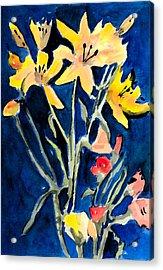 Yellow Daylilies Acrylic Print by Arline Wagner