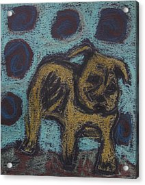 Acrylic Print featuring the painting Yellow Dog by Patricia Januszkiewicz
