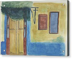 Yellow Door Acrylic Print by Jane Croteau