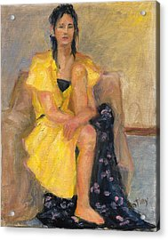 Yellow Dress Acrylic Print by Rita Bentley
