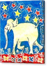 Yellow Elephant Facing Left Acrylic Print by Sushila Burgess