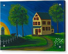 Acrylic Print featuring the painting Yellow Farm House by Gail Finn