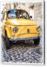 Yellow Fiat 500 Watercolor Acrylic Print by Edward Fielding