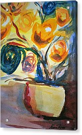 Yellow Floral Acrylic Print by Neva Rossi
