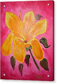 Acrylic Print featuring the painting Yellow Flower by Barbara Hayes