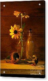 Yellow Flower Still Life Acrylic Print by Sandra Cunningham