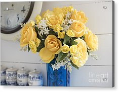 Yellow Flowers In A Blue Vase Acrylic Print by Juli Scalzi