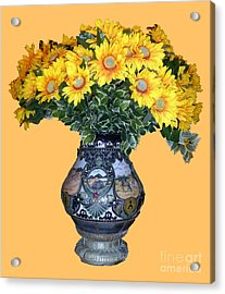 Acrylic Print featuring the photograph Yellow Flowers In Vase by Francesca Mackenney